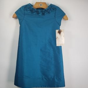 US ANGELS CAP SLEEVE TURQUOISE A-LINE SIZE 4T